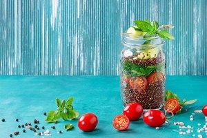 Salad with quinoa in jar