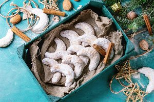 Christmas cookies crescent with holiday decoration