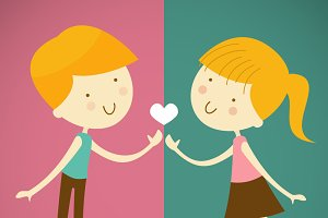 boy and girl one love one heart