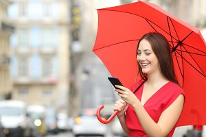 happy woman wearing red blouse