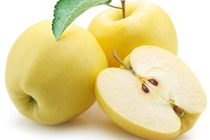 Yellow apples on a white