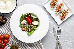 Italian salad and traditional bruschetta