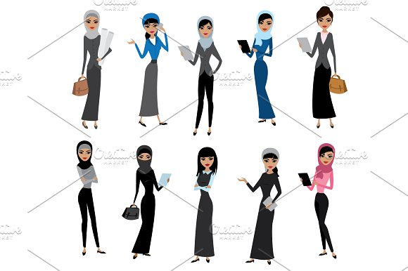 Set Arab Women Different Characters