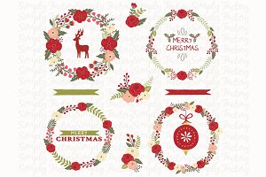 Christmas Floral Wreath Elements
