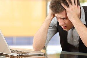 Closeup of a worried entrepreneur