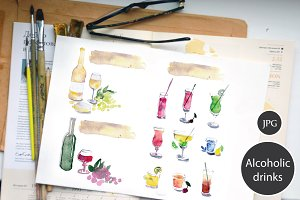 Cocktails, wine, watercolor set