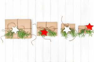 Wrapped gifts Christmas background