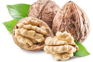 Walnuts and leaves on a white