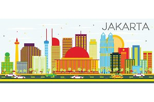 Jakarta Skyline with Color Buildings