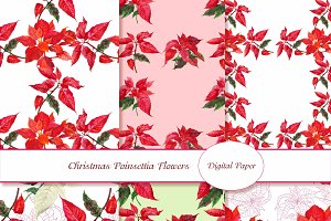 Digital Paper with Poinsettia