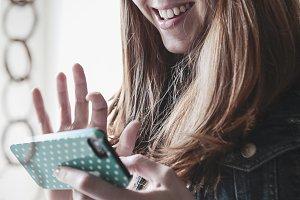 Happy Woman on iPhone