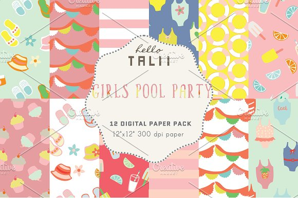 Girls Pool Party Digital Paper in Patterns