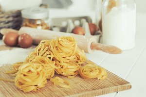 Dry tagliatelle ready to cook