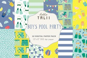 Boys Pool Party Digital Paper