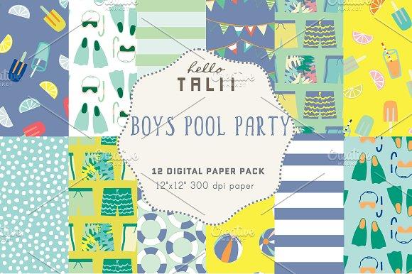 Boys Pool Party Digital Paper