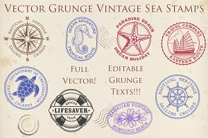 Vector Grunge Vintage Sea Stamps2