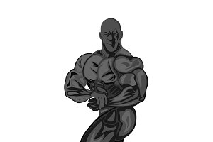 bodybuilder posing,vector