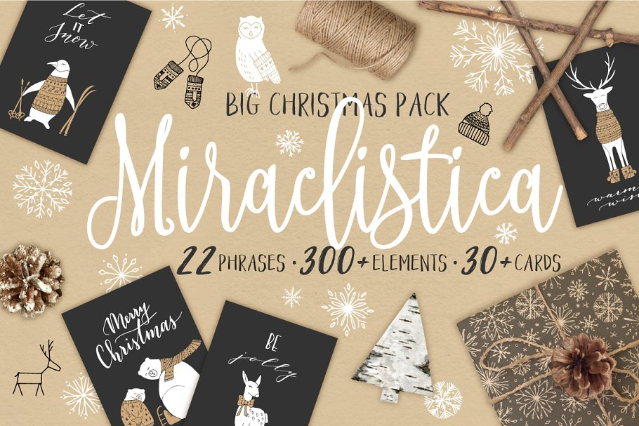 f22a307c34089 Miraclistica Christmas Pack ~ Illustrations ~ Creative Market