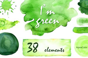 I'm green - Watercolor clipart