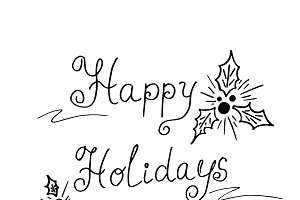 Happy holidays text, vector