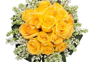 Yellow roses bouquet from above