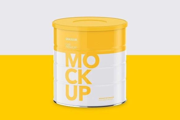Milk Powder Can High Angle Mockup