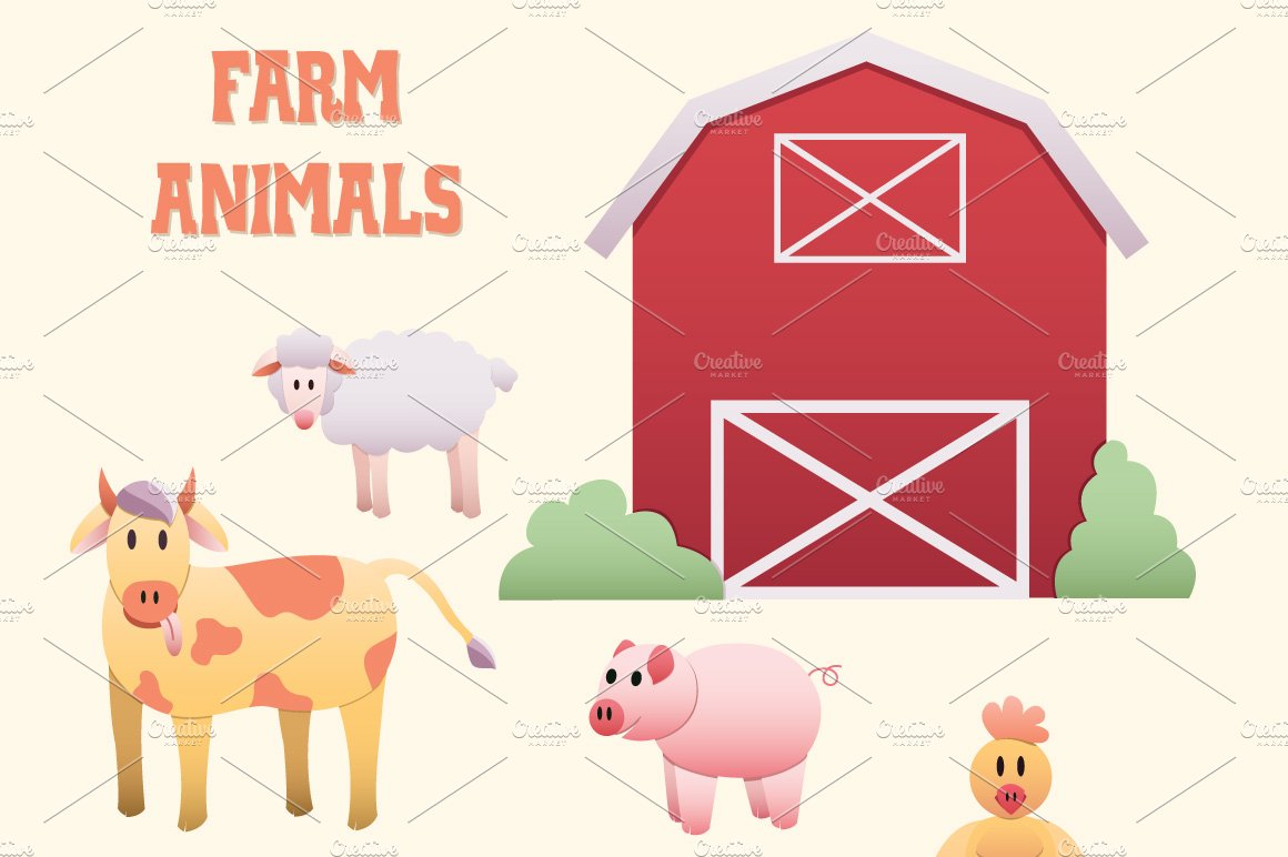 Farm Animals Scene Clipart Elements Illustrations Creative Market