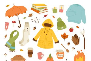 Autumn icons hand drawn vector