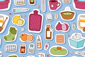 Flu influenza pattern vector