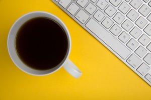 Coffee + Computer Keyboard