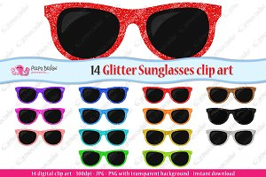 Colorful Glitter Sunglasses clipart
