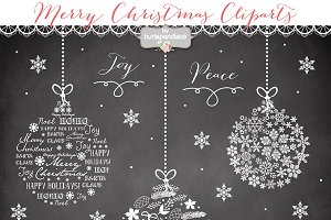 Chalkboard Christmas ball cliparts