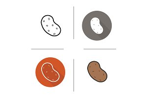 Potato. 4 icons. Vector