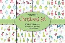 Christmas set. Watercolor.