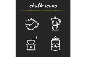 Tea and coffee. 4 icons. Vector