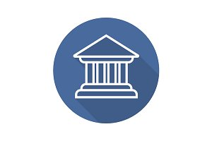 Bank building icon. Vector