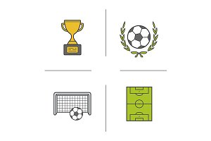 Soccer championship. 4 icons. Vector