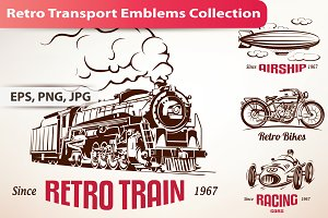 Set of Retro Transport Emblems