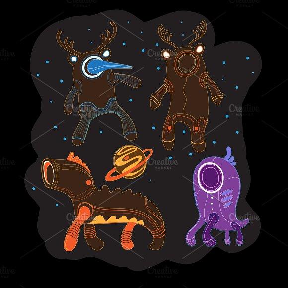 Ethnic aliens set in vector