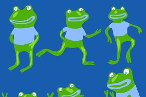 Cute frogs set in vector