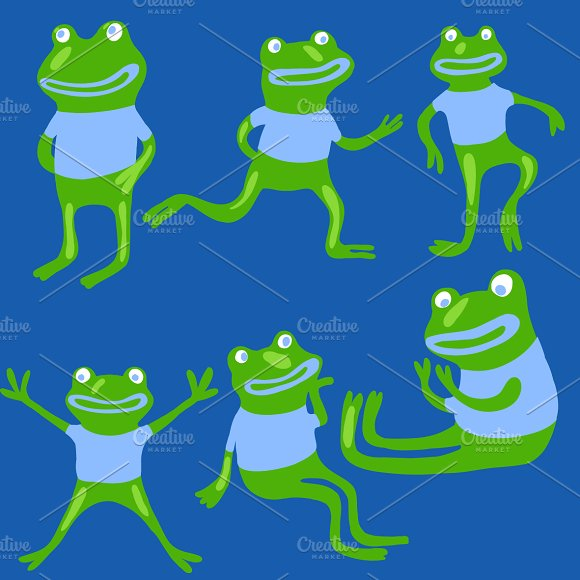 Cute frogs set in vector
