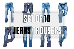 Set of 10 isolated jeans trousers