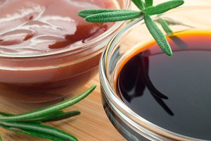 Tomato ketchup and soy sauce