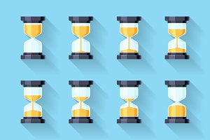Sandglass flat icons vector