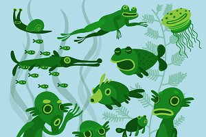 Swamp monster family in vector