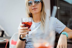 beautiful woman and glass of sangria