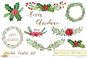 Watercolor Christmas Flowers Set