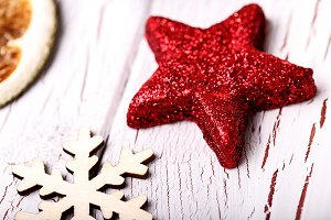 Shiny red star and snowflake