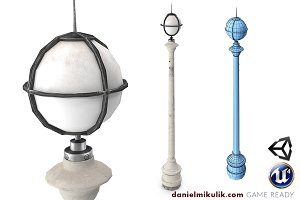 Retro Street Lamp Low poly 3d model
