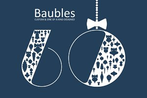 Christmas baubles - set of 60 vector